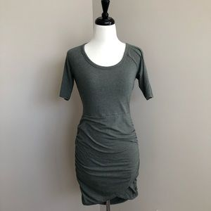 Athleta Seeker Rouches Dress Olive Green XS